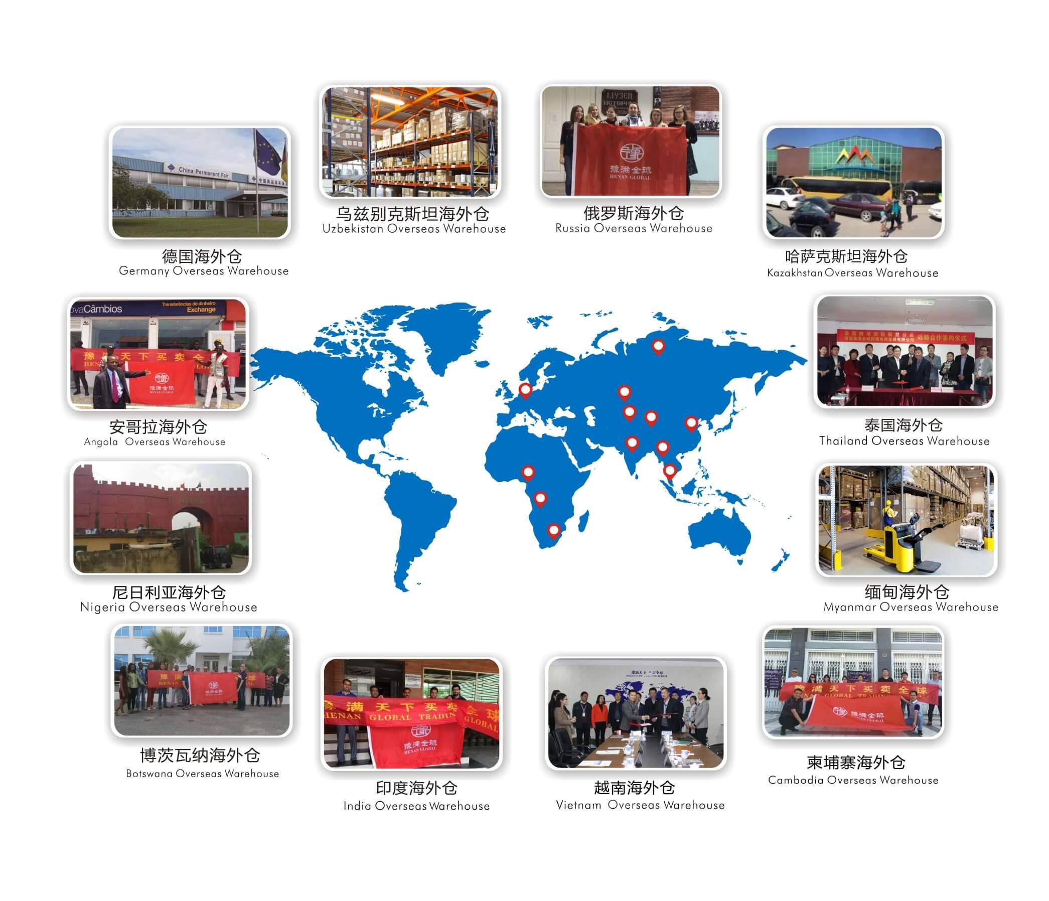 跨境电商国外城市海外仓示例图(包含乌兹别克斯坦、俄罗斯、哈萨克斯坦、泰国、缅甸、柬埔寨、越南、印度、博茨瓦纳、尼日利亚、安哥拉和德国等海外仓)
