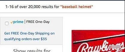 当搜索棒球帽时,会出现超过20000个结果
